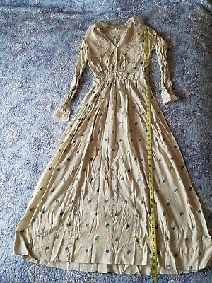 Antique Edwardian Victorian Ladies Long Dress Cream floral and lace
