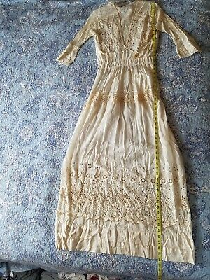 Antique Edwardian Victorian Ladies Long Dress Ivory Cotton Eyelet and Lace