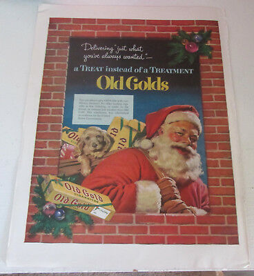 1952 original ad Old Gold cigarettes cute Santa with Puppy in his Pouch