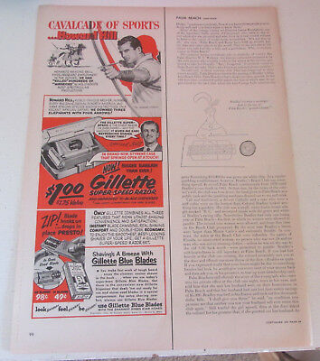 1952 original ad Gillette Razors & Blades Howard Hill Archery Champion 1/2 page