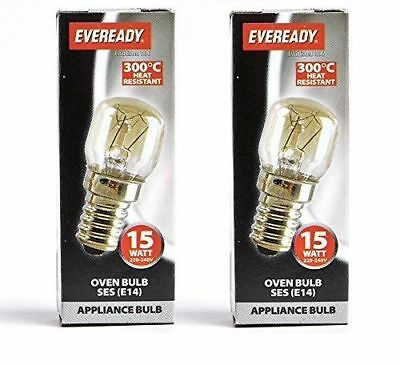 2x Oven Bulb 15w Lamp 300°C SES E14 base T22 Pack Of 2 Small Screw by Lyvia