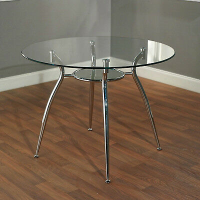 Round Metal Dining Table Glass Top Modern Chrome Dinner Patio Dinette Breakfast