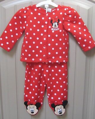 DISNEY Minnie Mouse 2-piece Girls Red Polka Dot Footed Fleece Set 3-6 mos