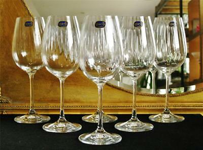"Boxed set of 6 high quality Bohemia Crystal ""Cascade"" Wine glasses. NEW"