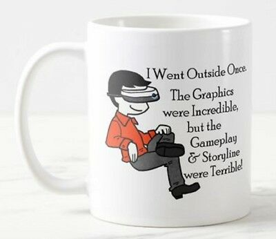 'Went Outside'  VR Virtual Reality Glasses Headset Goggles Games Funny Mug Gift