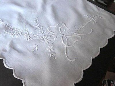 """Antique VTG White Linen French Mantle Shelf Cover Scarf~Embroidered  17.5 X 48"""""""