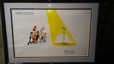 LOONEY Tunes Speechless Poster Mel Blanc 1989 Warner Brothers Looney Toons WB