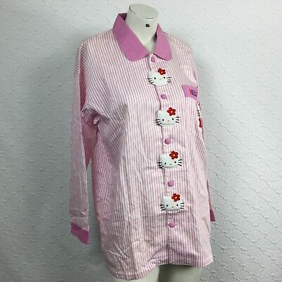 Vtg. 90s Sanrio Hello Kitty Striped Embroidered 3D Cartoon Button Down Gown XL