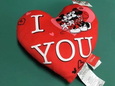 Disney Mickey Minnie Mouse Kiss Heart Shaped Pillow Plush Valentines Day RED