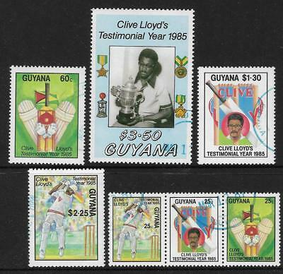 GUYANA 1985 CRICKET CLIVE LLOYD West Indian Captain Set of 7 values USED
