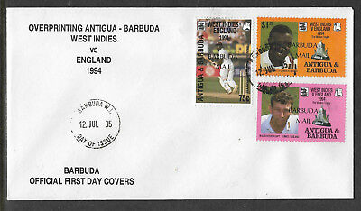 BARBUDA MAIL (ANTIGUA) 1995 CENTENARY ENGLISH CRICKET TOUR 3v FDC (No 1)