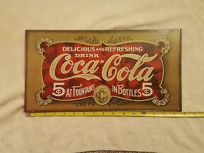"Coca Cola ""Delicious and Refreshing Drink"" sign, metal"