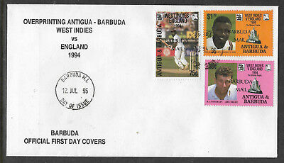 BARBUDA MAIL (ANTIGUA) 1995 CENTENARY ENGLISH CRICKET TOUR 3v FDC (No 3)