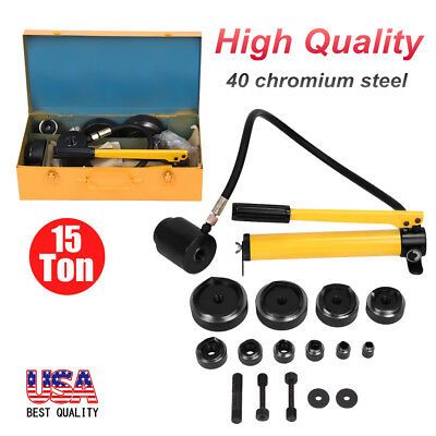 15 Ton Hydraulic Knockout Punch Driver Kit 10 Dies Hole 40 chromium steel + Case