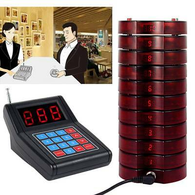 Wireless Restaurant 10 Coaster Pagers Guest Waiter Calling Paging Queuing System