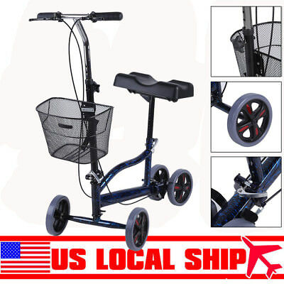 Adjustable Foldable Medical Steerable Knee Walker Scooter Crutch Alternative FH