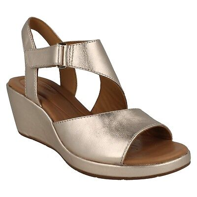 dcb69ef60ae LADIES CLARKS UNSTRUCTURED Leather Wedge Heel Summer Sandals Size Un Plaza  Sling - EUR 59