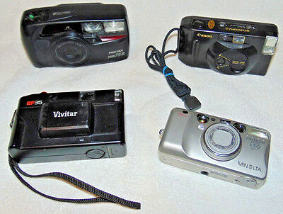 Mixed Lot of 4 Point & Shoot 35mm Film Cameras Clean Untested Film Inside