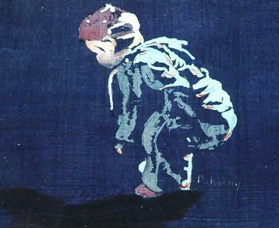 Small Work Oil on Board of a Little Boy Looking at His Shadow Signed Pokorny