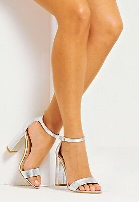 eb823ce2055 NEW IN BOX ASOS silver block heel sandals. SIZE 7.5 -  35.00