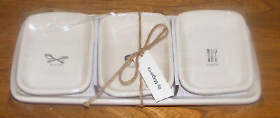 Rae Dunn Snack, Nibble, Munch 4 Pc Server Set Artisan Collection by Magenta, New