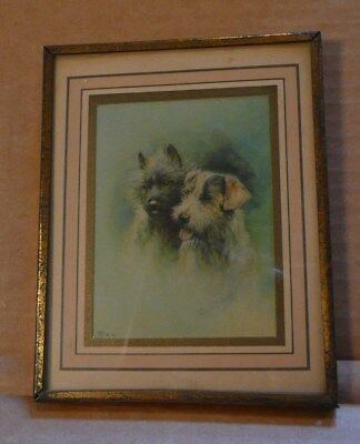 """Very Small Old Vintage Puppy Dog Print Matted in Old Metal 4"""" x 5"""" Frame"""