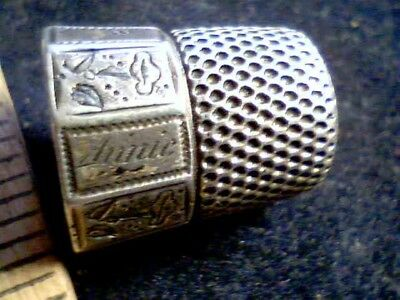 "Sterling Silver ""ANNIE"" THIMBLE #8 antique vintage old sewing Hammer Hallmark"