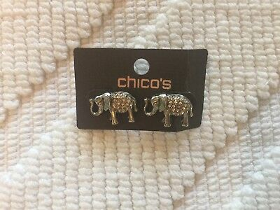 Silver & Rhinestone Elephant Earrings from Chicos