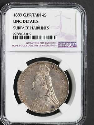 1889 Great Britain 4 Shillings Ngc Unc Details Great Looking Coin!!!