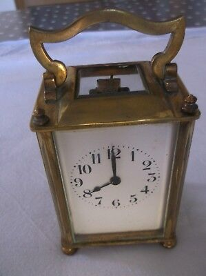 Antique French Brass Carriage Clock With Key