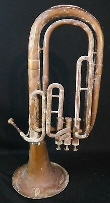 Antique French  Horn Trumpet Couesnon Military Brass Instrument Paris Exhibition