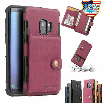 For Galaxy S10E S10 S9 S8 Plus NOTE 9 8 Leather Wallet Case Card Slot Slim Cover