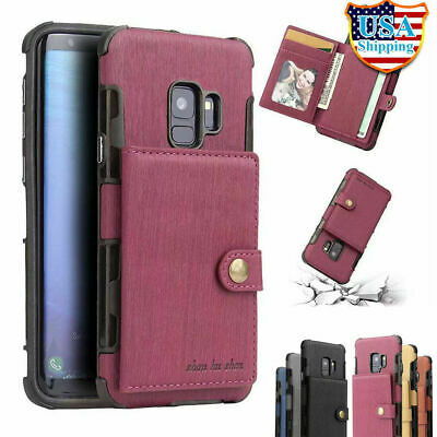 For Samsung Galaxy S9/ S8 Plus NOTE 9 8 Leather Case w/ Card Holder Wallet Cover
