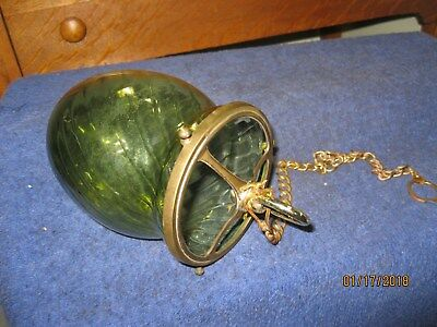 HANGING  GLASS  CANDLE-HOLDER -- w/ 17'' BRASS CHAIN