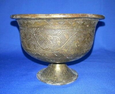 1849'c Antique Brass Hand Engraved Beautiful Shape Royal Spiting Bowls Pot INDIA
