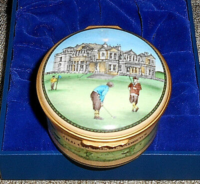 Halcyon Days Enamel Box The Old Golf Course At St Andrews. (Boxed)