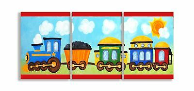 The Kids Room by Stupell Choo Choo Train In The Sun 3-Pc. Rectangle Wall Plaq...