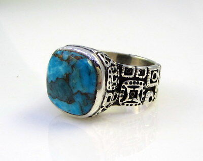 Estate Vintage Stunning Cast Sterling Silver Luminescent Blue Turquoise Ring