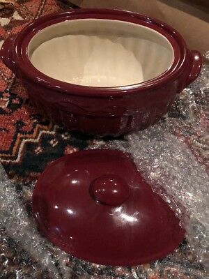 Home And Garden Party Casserole Dish With Lid Burgundy Stoneware Collection