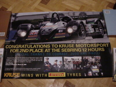 Poster Signé (Kruse) - Course Spa Francorchamps - Sebring 12h Courage Pirelli
