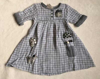 ***BNWT Next girls Character 3D Applique grey checked cotton dress 1,5-2 years**