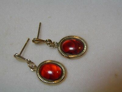 9ct Gold Red Stone Drop Earrings