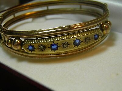 Rolled Gold? Victorian Vintage Bangle Blue & Clear Stones