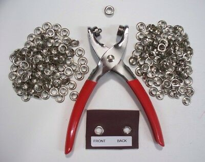 "Eyelet Setting Pliers & 200 Lge 1/4"" Silver  1 Piece Eyelets Crafts  Leather"