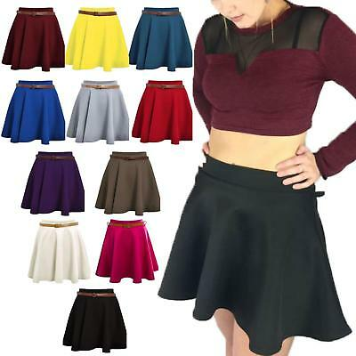 Ladies Girls Skirts Women's Belted Flared Plain Mini Skater Skirt Sizes UK 8-22