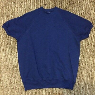 Vintage Lee Brand Midweight Short Sleeve 50/50 Navy Blue Sweatshirt W/ Tags - Xl