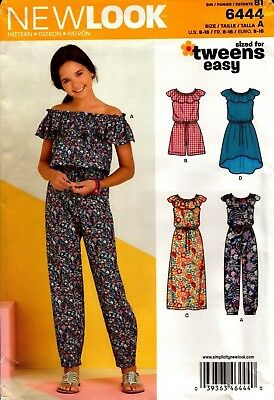 New Look Sewing Pattern 6444 Girls Tweens Dress Jumpsuit Size 8-16