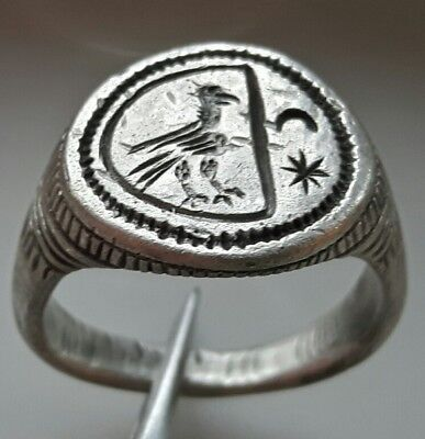 ** Silver Roman Ring ** Rare Hawk Cresent And Star **