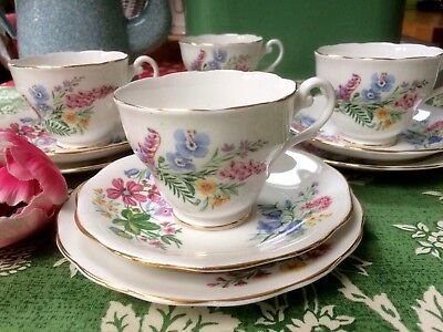 Vintage Wild Flowers Pretty Pastels Floral 4 China Trios cups saucers Plates