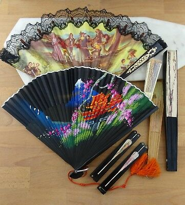 Lot of 7 Vintage Chinese & Spanish Paper & Fabric Hand Fans